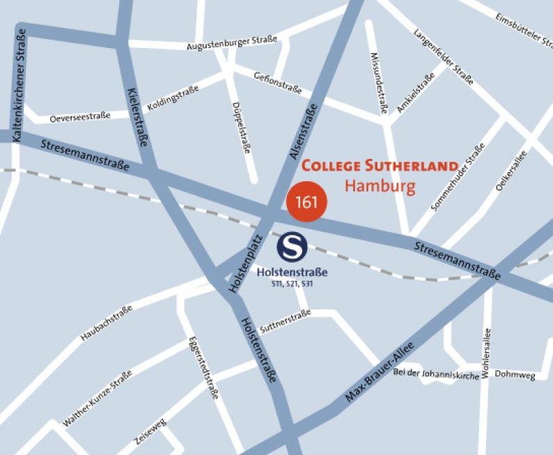 Standortkarte: College Sutherland College für osteopathische Medizin Stresemannstraße 161 | 22769 Hamburg